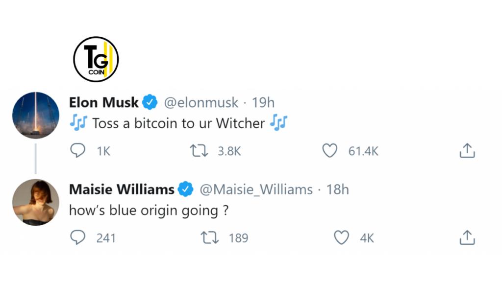 """Dopo essersi confuso di serie, Elon Musk è stato corretto da altri commentatori. Che hanno ricordato che The Witcher era la """"serie sbagliata"""". Suggerendo che Musk si era confuso con Game of Thrones. Williams ha risposto a Musk scherzando: """"come va l'origine blu?"""". La Blue Origin, fondata dal CEO di Amazon Jeff Bezos, è un produttore aerospaziale. Ed è un concorrente di Musk's Spacex."""