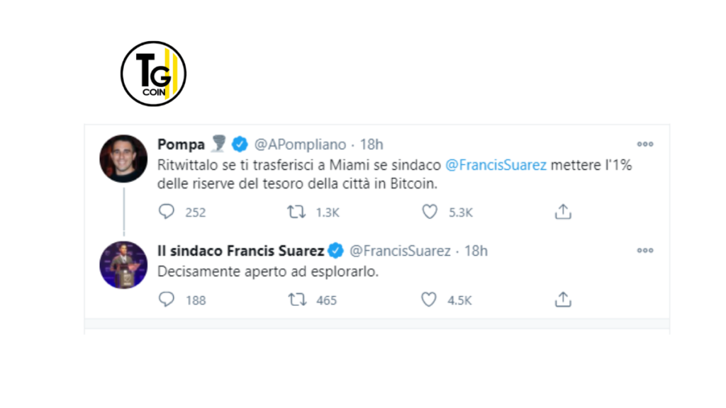 Su twitter il sostenitore di bitcoin Pompiliano ha incalzato i suoi seguaci, attirando l'attenzione del sindaco di Miami.