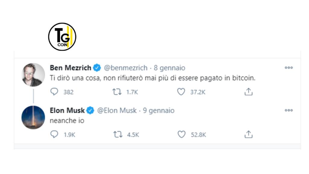 Lo scrittore Ben Mezrich ha scritto su Twitter che non intende più rifiutare di essere pagato con Bitcoin. Ad appoggiarlo è intervenuto l'uomo più ricco del mondo, Elon Musk