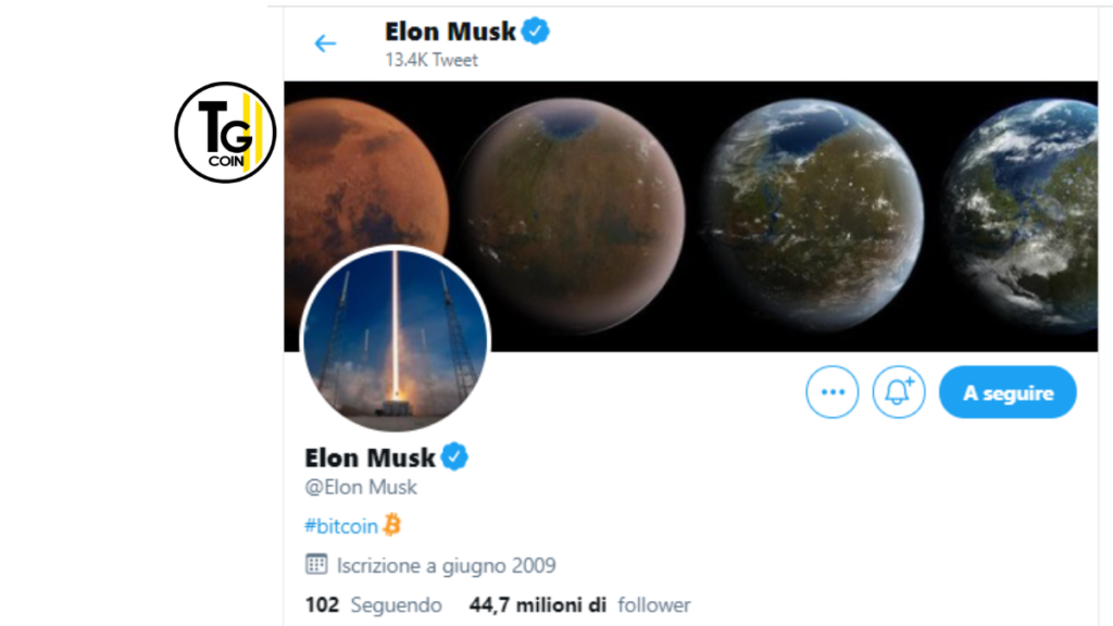 Elon Musk ha aggiornato la sua bio di twitter con l'hashtag bitcoin: #bitcoin.