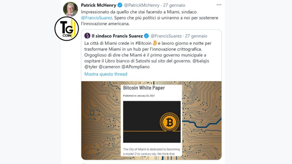 Il tweet McHenry conferma l'adozione di bitcoin nella citta di Miami