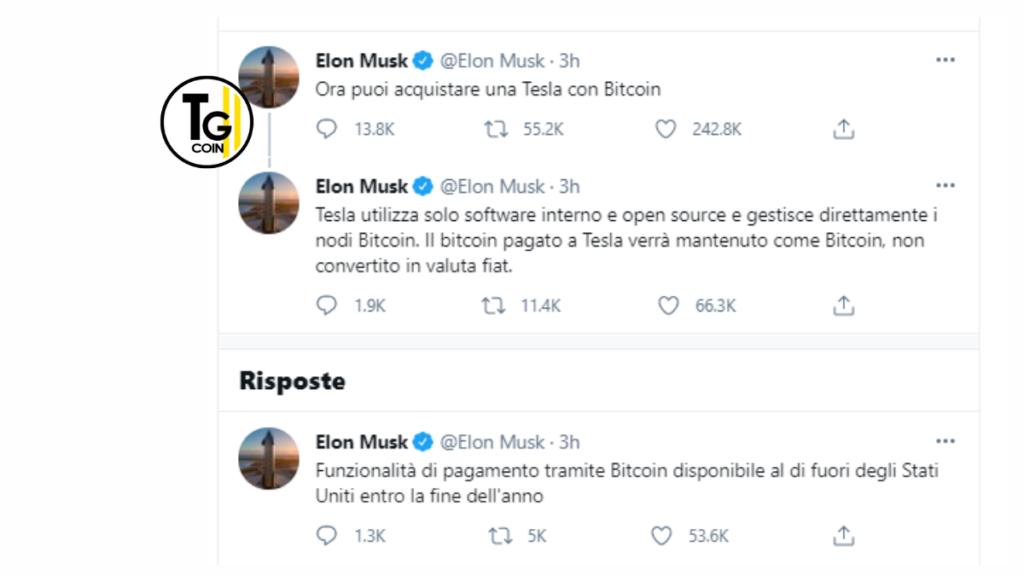 Il celebre imprenditore miliardario annuncia che la sua azienda Tesla ora accetta Bitcoin come pagamento per i suoi veicoli elettrici.