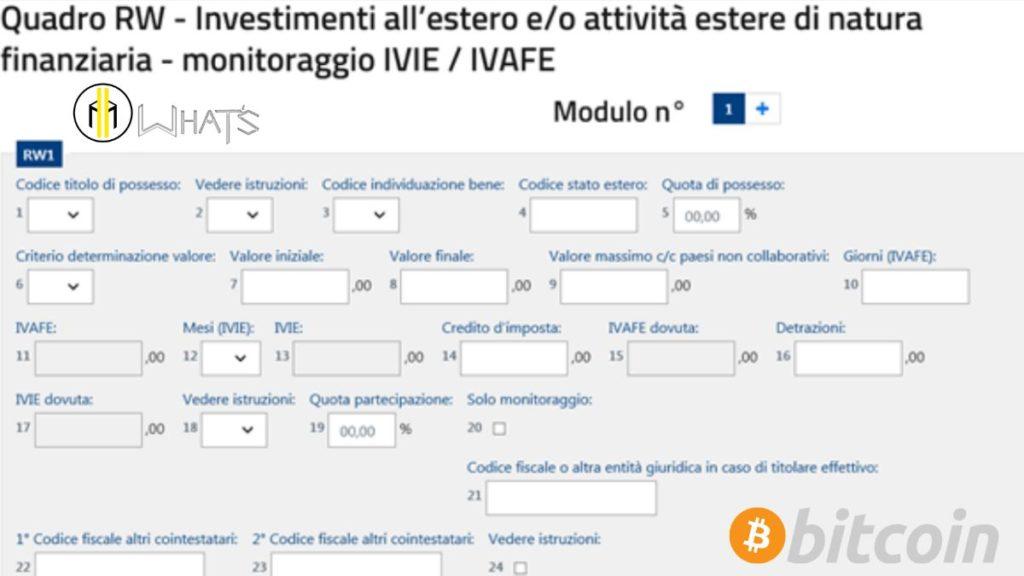 Il quadro RW se hai acquistato bitcoin va sempre compilato.
