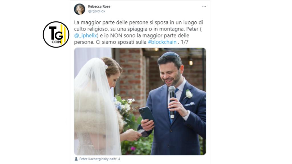 Rebecca Rosa ha raccontato su Twitter il suo matrimonio crittografico con Peter.