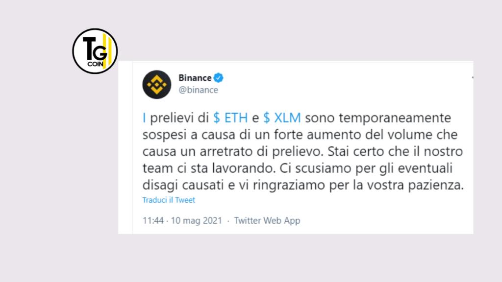 Binance ha annunciato su Twitter di aver affrontato difficoltà tecniche con i prelievi di ETH e XLM.