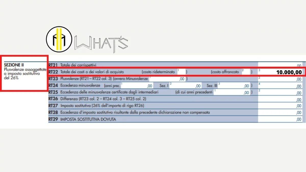 Guida Quadro RT 2021 esempio compilazione rigo 22