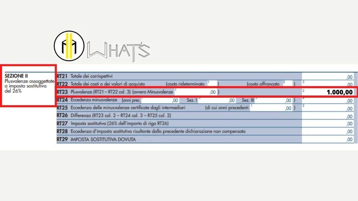 Guida Quadro RT 2021 esempio compilazione rigo 23