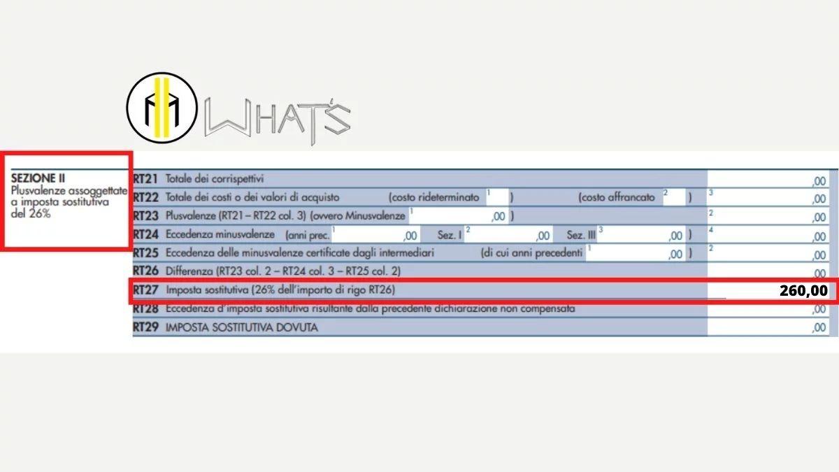 Guida Quadro RT 2021 esempio compilazione rigo 27