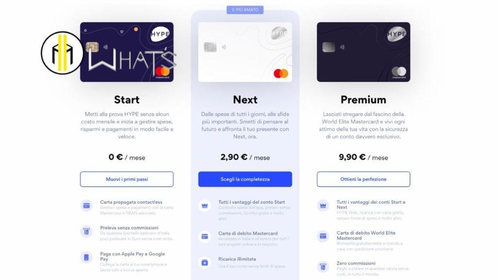 tipologie carte di credito hype